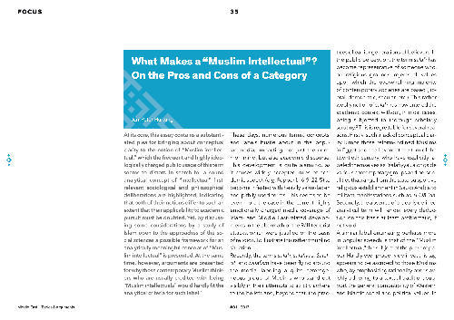 "What Makes a ""Muslim Intellectual""? On the Pros and Cons of a Category"