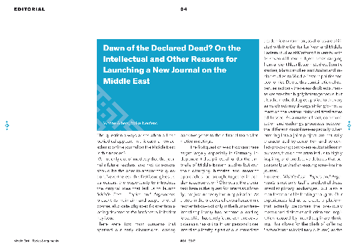 Dawn of the Declared Dead? On the Intellectual and Other Reasons for Launching a New Journal on the Middle East