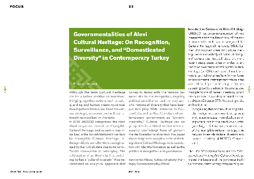 "Governmentalities of Alevi Cultural Heritage: On Recognition, Surveillance and ""Domesticated Diversity"" in Contemporary Turkey"
