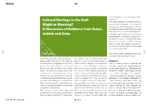 Cultural Heritage in the Gulf: Blight or Blessing? A Discussion of Evidence from Dubai, Jeddah and Doha