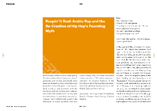 Keepin' it Real: Arabic Rap and the Re-Creation of Hip Hop's Founding Myth