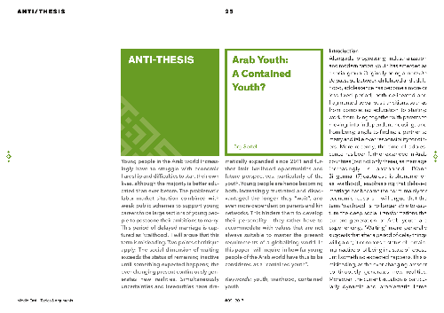 Arab Youth: A Contained Youth?