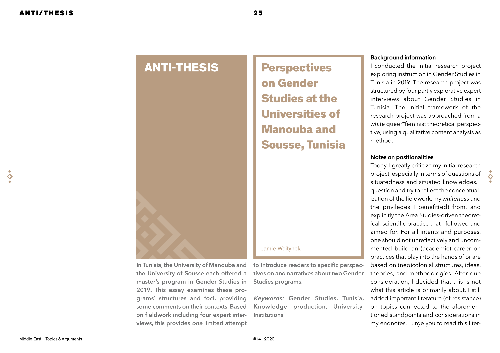 Perspectives on Gender Studies at the Universities of Manouba and Sousse, Tunisia