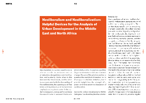 Neoliberalism and Neoliberalization: Helpful Devices for the Analysis of Urban Development in the Middle East and North Africa